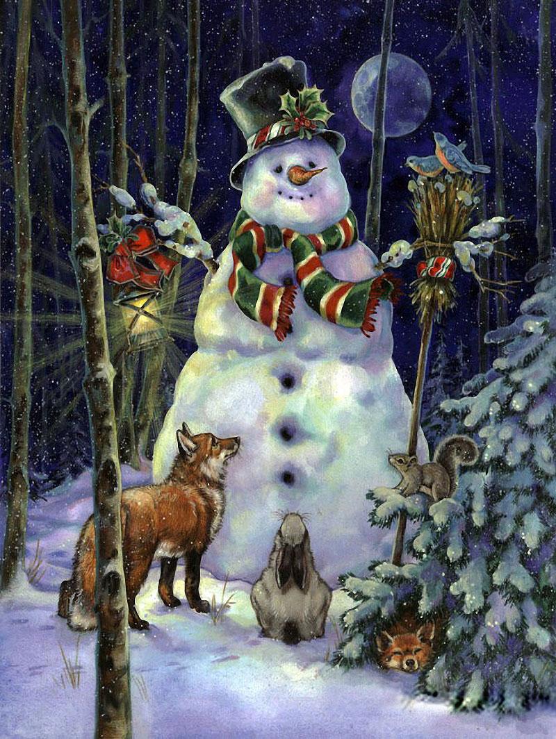Открытка с елкой и снеговиками